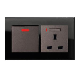 I LumoS AS Luxury Black Crystal Glass  Double 20A Switch with Switched Neon  13A UK Socket