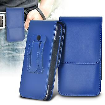 ONX3 (Blue) Samsung Galaxy J7 Prime G610F Case High Quality Faux Leather Vertical Executive Pouch Holster Belt Clip Cover Case