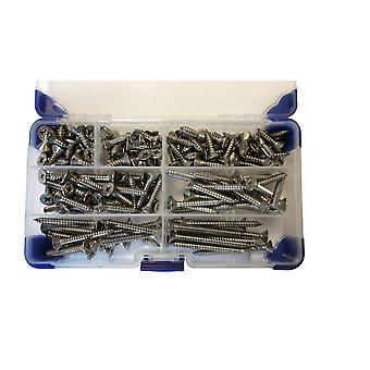 430 Piece No 6 (3.5mm) Stainless Steel Pozi Countersunk Self Tapping Screws Assorted Lengths