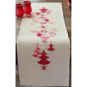 Red Christmas Decorations Table Runner Counted Cross Stitch -11.6