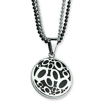 Stainless Steel Black Rubber Fancy Circles Double Chain Necklace - 22 Inch