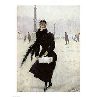 Parisian woman in the Place de la Concorde Poster Print by Jean Beraud