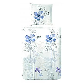 COCK Percale bedding flowers blue 135 x 200 cm
