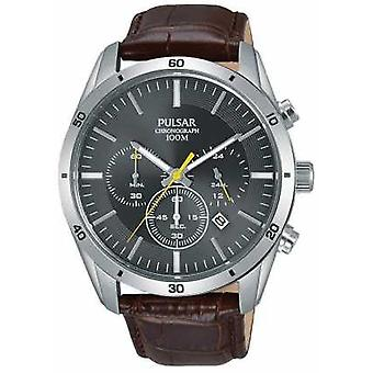 Pulsar Gents Brown Leather Grey Face Chrono PT3837X1 Watch