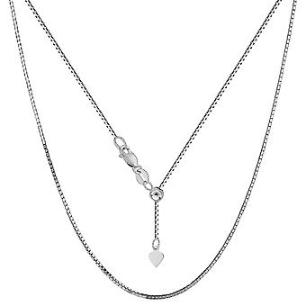 14k White Gold Adjustable Box Link Chain Necklace, 0.85mm, 22
