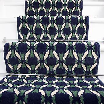 60cm Width - Navy Blue  Green & White Mosiac Stair Carpet
