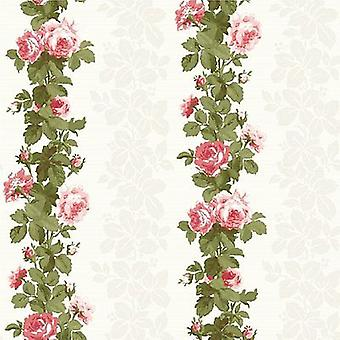 Floral Wallpaper Flower Heritage Traditional Luxury Heavyweight White Green Pink
