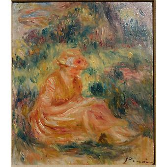 Pierre Auguste Renoir - Young Woman in a Landscape Poster Print Giclee