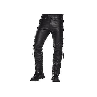 Attitude Clothing Lace-sided Leather Trousers