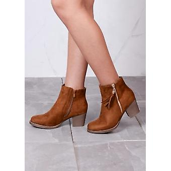 Tassle Detail Suede Block Heeled Ankle Boots Brown