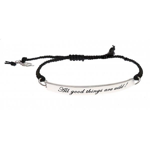 W.A.T Sterling Silver And Black Plaited Cord 'All Good Things Are Wild' Quote Bracelet