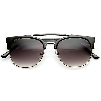 Double Bridge Half Frame Semi-Rimless Horn Rimmed Sunglasses