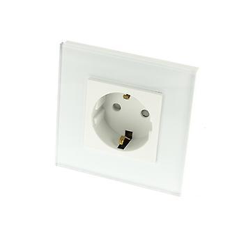 I LumoS White Glass Schuko 16A EU German Wall Plug Double Socket