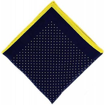 Michelsons of London Pin Dot with Border Silk Handkerchief  - Navy/Yellow