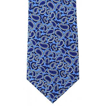 Michelsons of London Traditional Printed Pine Silk Tie - Blue