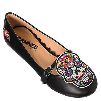 Banned - MUERTOS SKULL - Women's Embroidered Mary Jane Flats, Shoes