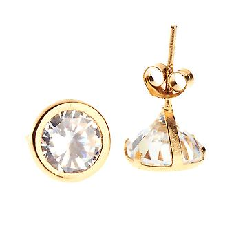 14K Gold Iced Out Stud Ohrstecker - BEZEL ROUND 7mm