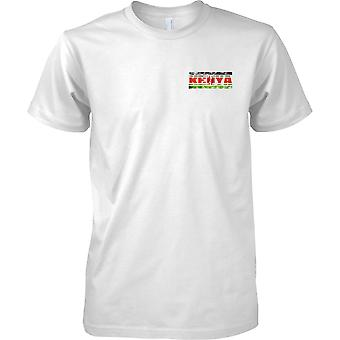 Kenya Grunge Country Name Flag Effect - Kids Chest Design T-Shirt