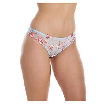 Camille Sheer Mesh Laced Womens blå Lingerie Sexy Thong