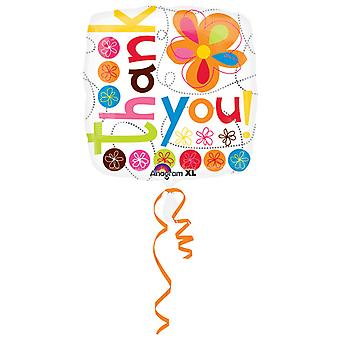 Amscan 18 Inch Floral Thank You Square Foil Balloon