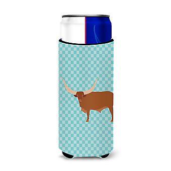 Ankole-Watusu Cow Blue Check Michelob Ultra Hugger for slim cans