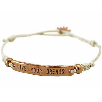 GEMSHINE ladies node bracelet with engraved LIVE YOUR DREAMS in rose gold plated. Size-adjustable beige cord and hand charm - made in Munich / Germany - the elegant jewelry with gift box