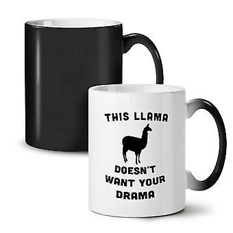 Lama kein Drama neue Schwarz Farbe wechselnden Tee Kaffee Keramik Becher 11 oz | Wellcoda