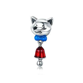 Sterling silver pendant charm Cat with bell SCC456