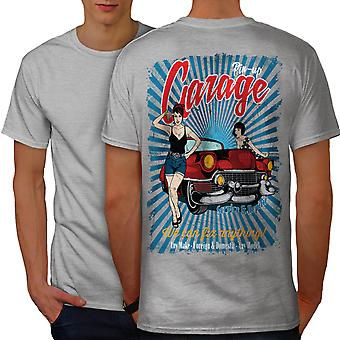 Pin Up Car Garage Men GreyT-shirt Back | Wellcoda