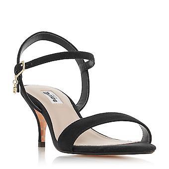 MONNROW de dames dune Strappy milieu talon sandale en noir