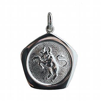 Silver 21mm five sided Taurus Zodiac Pendant