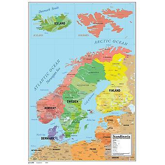 Scandinavia Map Poster Poster Print