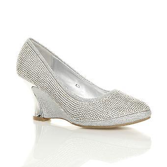 Ajvani womens mid heel wedge platform diamante evening bridal wedding prom court shoes pumps