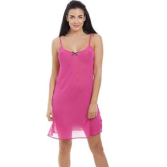 Camille Womens Pink chiffong Chemise & Wrap Set
