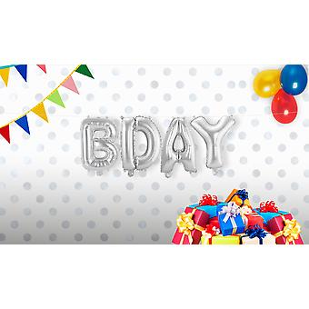 4 foil balloon set B-DAY letter Garland silver approximately 36 cm high