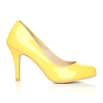 PEARL Yellow Patent PU Leather Stiletto High Heel Classic Court Shoes