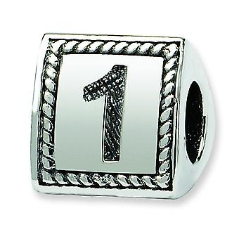 Sterling Silver Polished Antique finish Reflections Number 1 Triangle Block Bead Charm