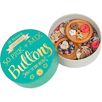 The Makery Pick & Mix Buttons 50/Pkg-Assorted Styles, Sizes & Shapes
