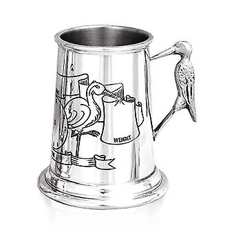 Baby's Birth Data Stork Handle Pewter Child's Cup