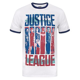 Justice League Mens Character Strips Ringer T-Shirt