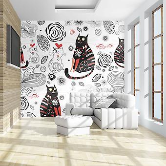 Behang - katten verliefd