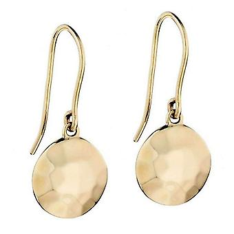 Elements Gold Hammered Finish Disc Earrings - Gold