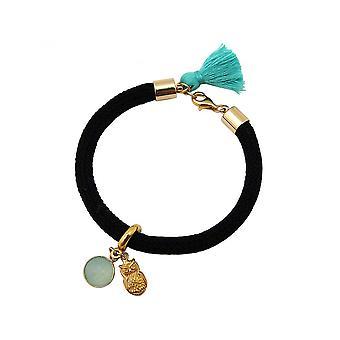 Women - bracelet - gold plated - gemstone - Aqua chalcedony - OWL - Green - Black