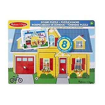 Melissa & Doug 10734 Around The House Sound Puzzle - Wooden Peg Puzzle (8 Pcs)
