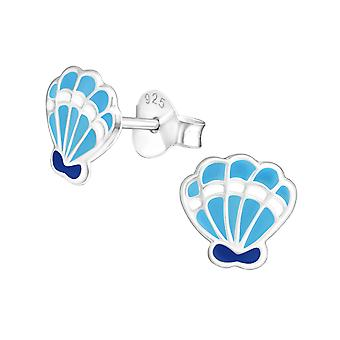 Shell - 925 Sterling Silver Colourful Ear Studs - W18729x