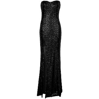 Ladies Celeb Amy Childs Inspired Sequin Side Split Boobtube Women's Maxi Dress