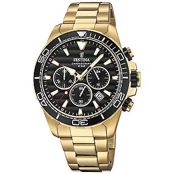 Festina Mens Gold Stainless Steel Chronograph Black Dial F20364/3 Watch