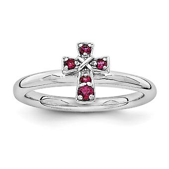 2.25mm Sterling Silver Rhodium-plated Stackable Expressions Rhodium Created Ruby Cross Ring - Ring Size: 5 to 10