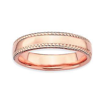 Sterling Silber poliert gemusterten stapelbar Ausdrücke rosa vergoldet Ring - Ringgröße: 5 bis 10