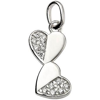 Beginnings Cubic Zirconia Pave Half Double Heart Pendant - Silver/Clear